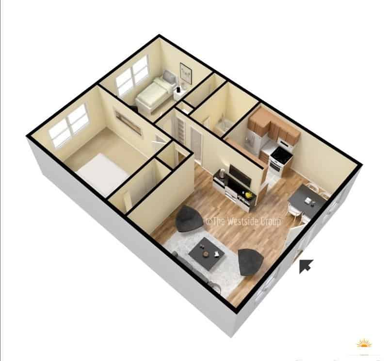 3d representation of 2br unit