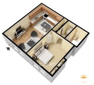 one-bedroom 3D model floor layout