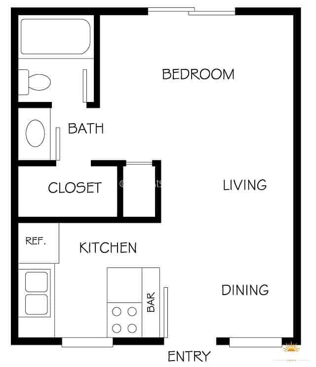 floor plan diagram of an apartment studio model