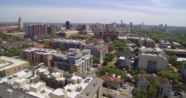 Aerial View of West Campus Austin